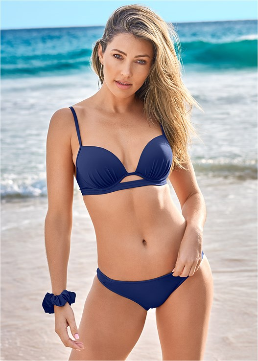 PUSH UP BIKINI TOP,LOW RISE BIKINI BOTTOM,SCOOP FRONT BIKINI BOTTOM,RUFFLE EDGE LOW RISE BOTTOM,HIGH WAIST MODERATE BOTTOM