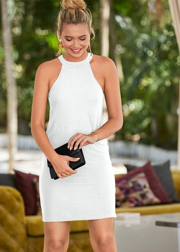 Casual A-Line Dress,Strap Solutions,Embellished Espadrilles,High Heel Strappy Sandals,Hoop Earrings,Circle Detail Handbag