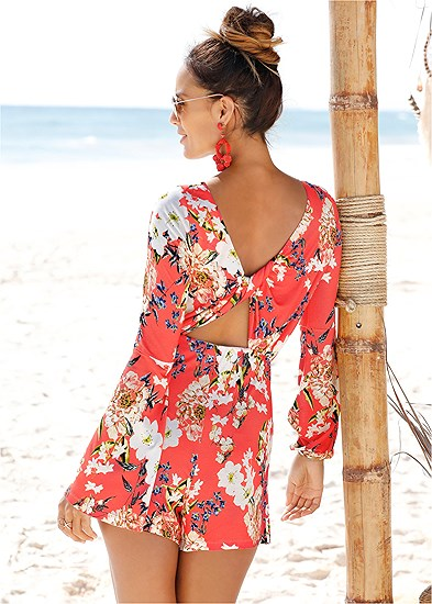 Twist Back Floral Romper
