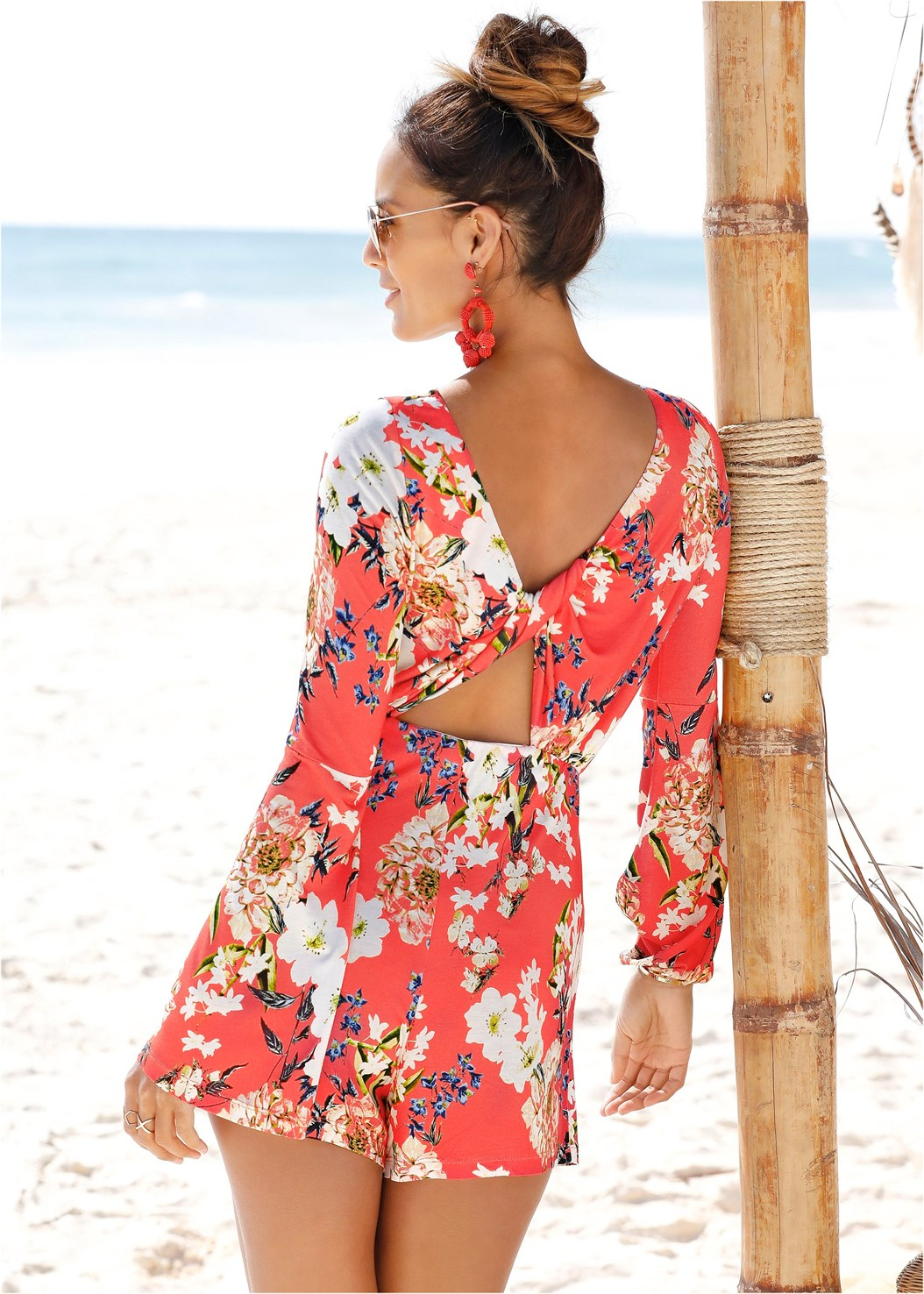Twist Back Floral Romper,Nubra Ultralite,Embellished Wedge,Wrap Around Heels,Beaded Tassel Earrings
