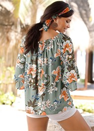 Back View Tiered Sleeve Printed Top