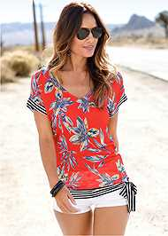 Front View Tie Detail Printed Top