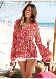 Front View Geometric Print Top