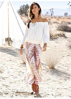 batik printed maxi skirt