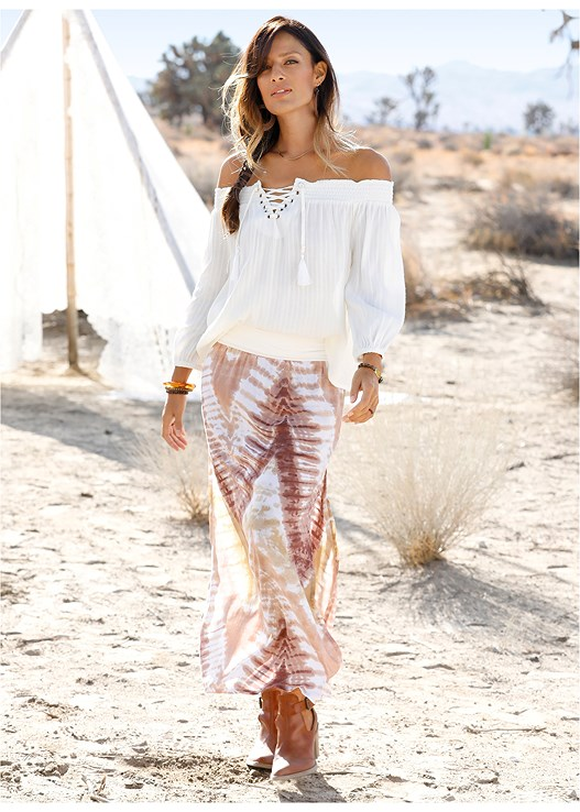 BATIK PRINTED SKIRT,LACE THONG 3 FOR $19,OFF THE SHOULDER TOP