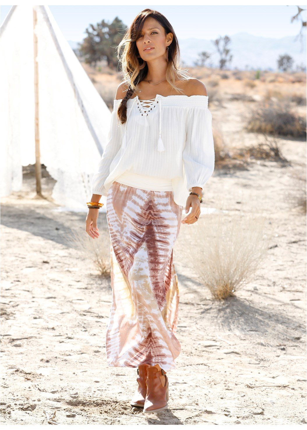 Batik Printed Maxi Skirt,Off The Shoulder Top,Lace Thong 3 For $19,Bead Detail Crochet Bag