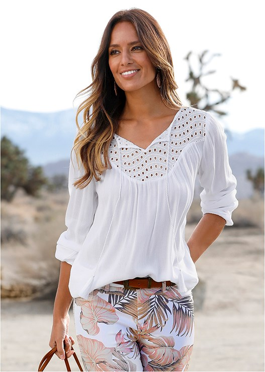 TIE FRONT BLOUSE,WIRELESS RIBBED BANDEAU BRA