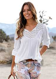 Front View Oversized Tie Front Blouse