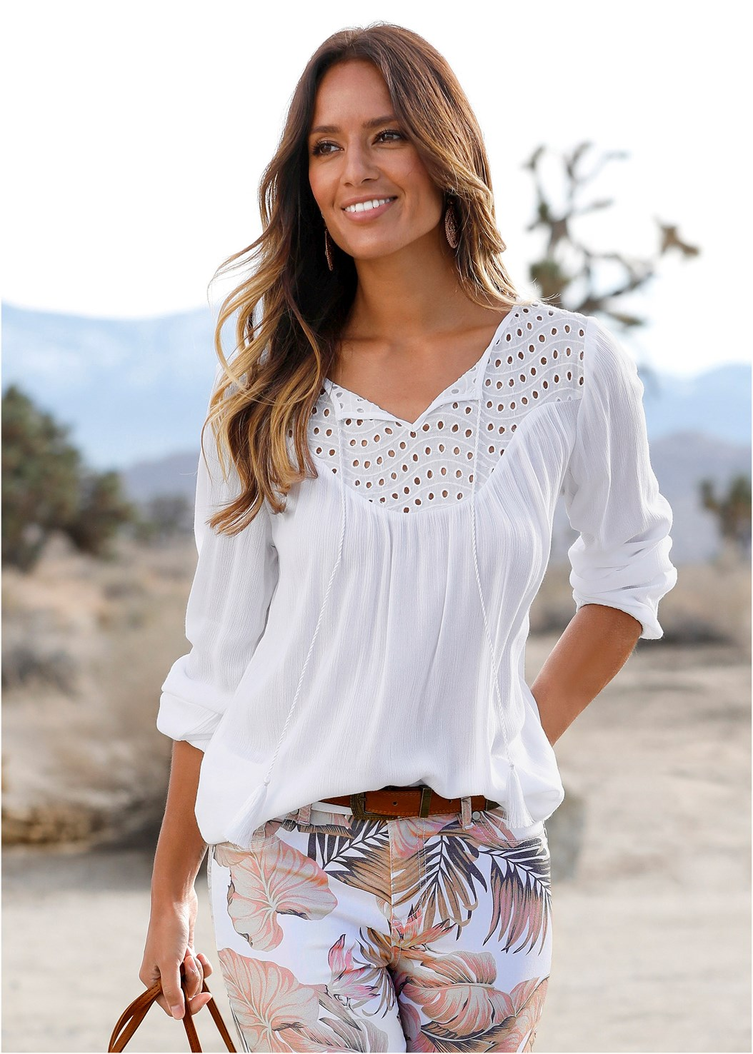Oversized Tie Front Blouse,Mid Rise Color Skinny Jeans