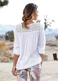 Back View Oversized Tie Front Blouse