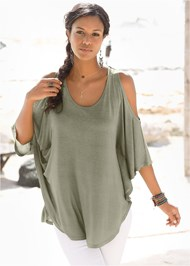 Front View Cold Shoulder Tunic