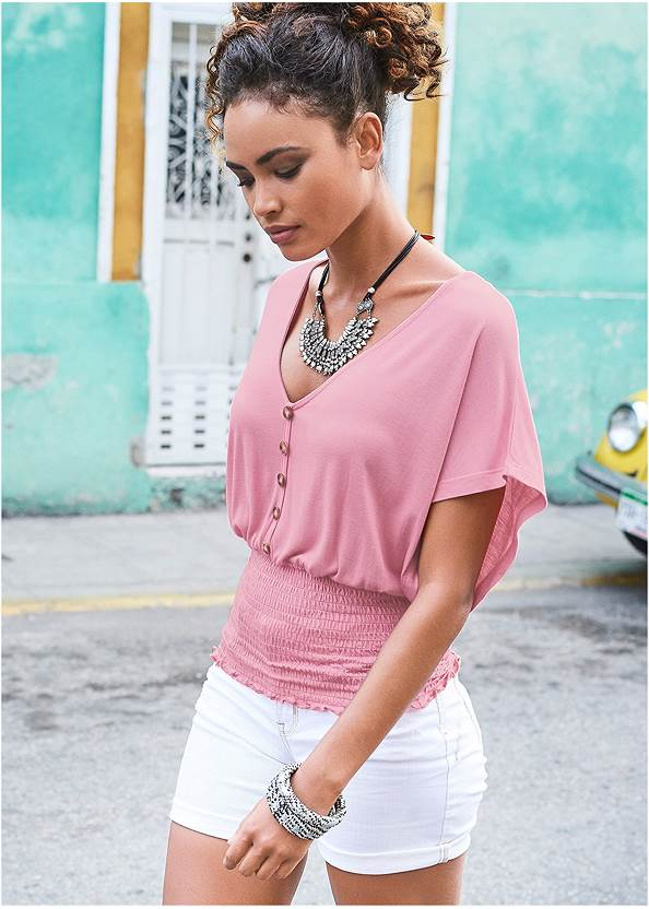Smocked Waist Top,Frayed Cut Off Jean Shorts
