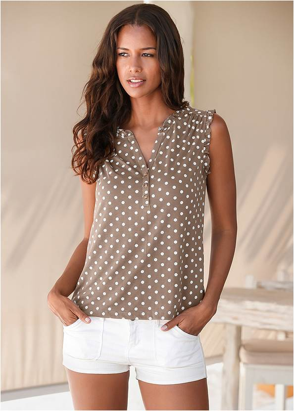 Polka Dot Top Two Pack,Frayed Cut Off Jean Shorts