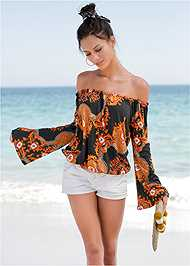Front View Flare Sleeve Printed Top