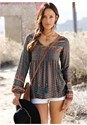 Front View Boho Printed Top