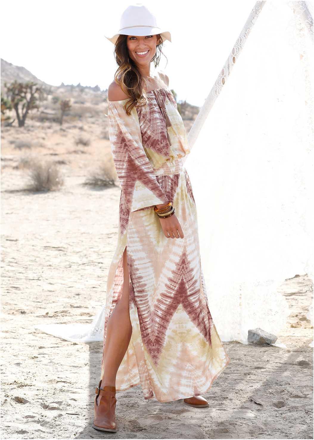 Batik Print Dress,Embellished Lucite Heel,Wood Earrings