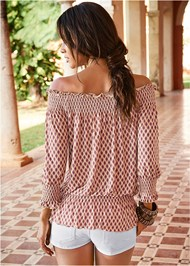 Back View Smocked Printed Top