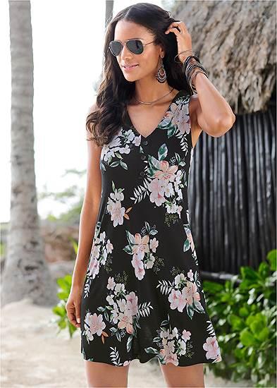Button Detail Floral Dress