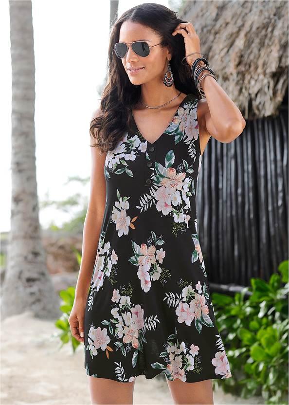 Button Detail Floral Dress,Push Up Bra