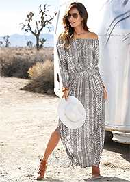 Front View Python Printed Maxi Dress
