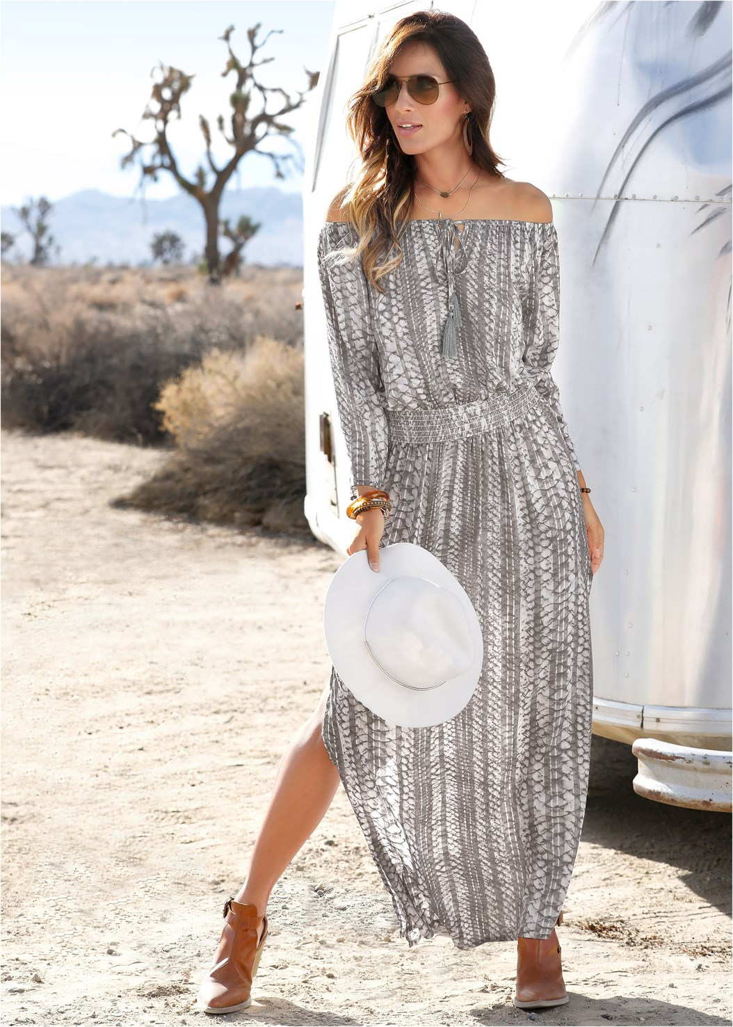 Python Printed Maxi Dress,Fringe Crossbody,Circular Straw Bag