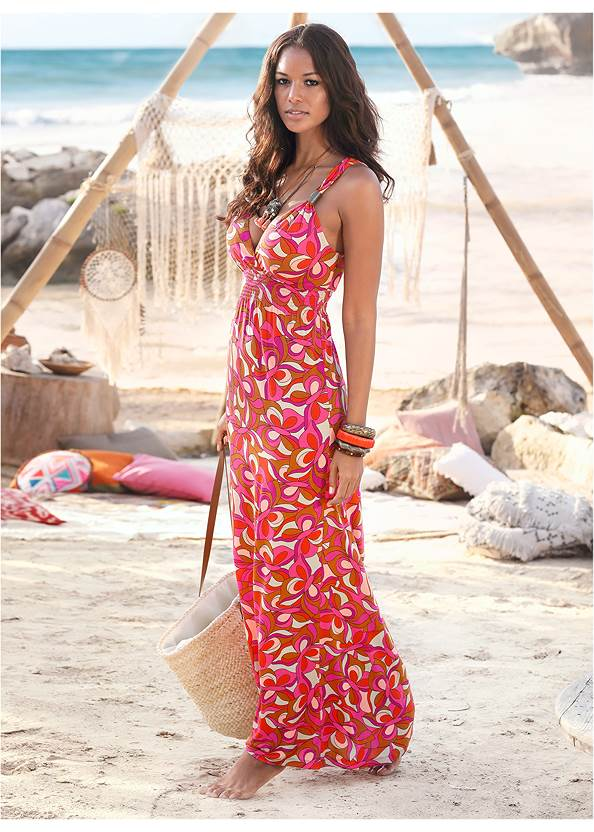 Geometric Print Maxi Dress,Pearl™ By Venus Strapless Bra,Rhinestone Thong Sandals,Hoop Detail Earrings,Circle Basket Wooden Bag