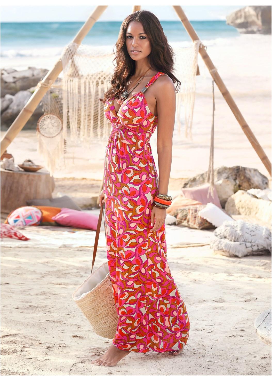 Geometric Print Maxi Dress,Woven Handbag