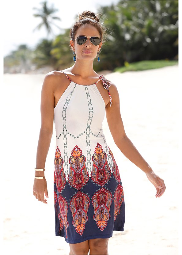 Printed Casual Dress,Studded Flip Flops,Strap Solutions