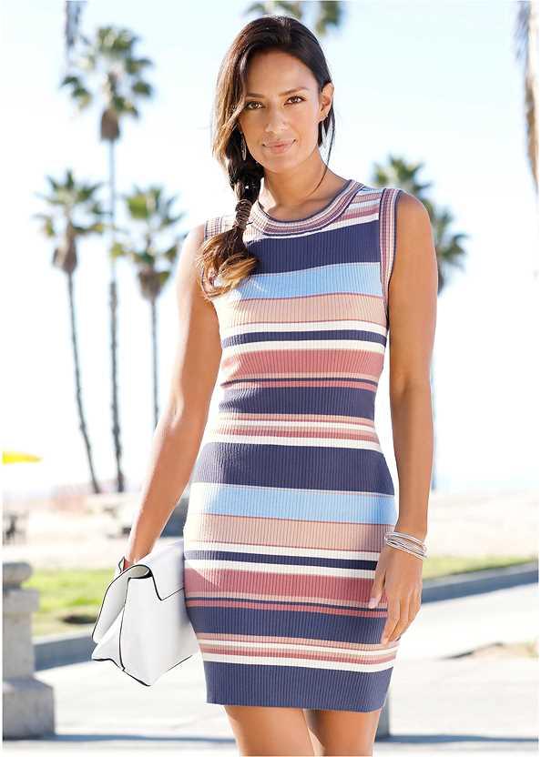 Striped Sweater Dress,Jean Jacket,Transparent Studded Heels
