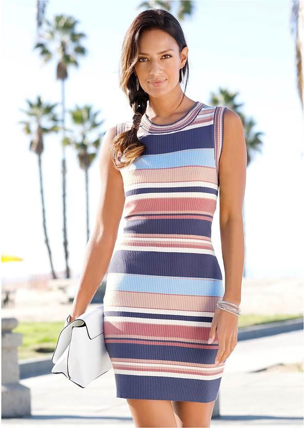 Striped Sweater Dress,Jean Jacket