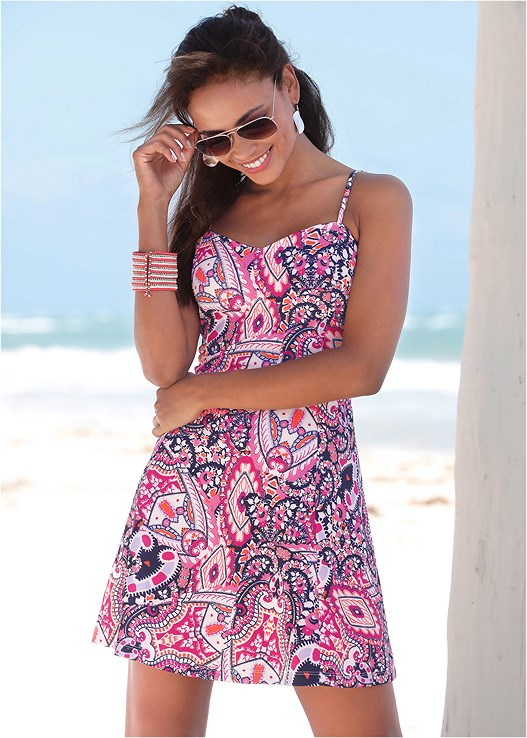 ABSTRACT PRINTED MINI DRESS,EVERYDAY YOU STRAPLESS BRA,EMBELLISHED LOW WEDGES,HAMMERED METAL BANGLE SET,STEVE MADDEN SUNGLASSES