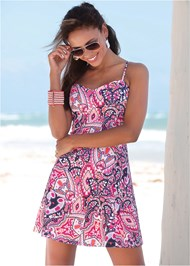 Front View Abstract Printed Mini Dress