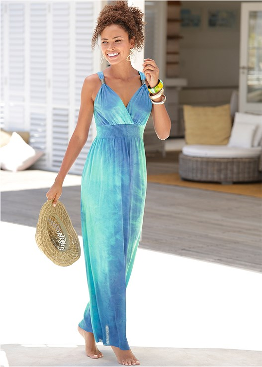 TIE DYE MAXI DRESS,NAKED T-SHIRT BRA,EMBELLISHED ROPE SANDALS