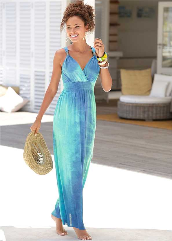 Tie Dye Maxi Dress,Etched Metal Upper Arm Band