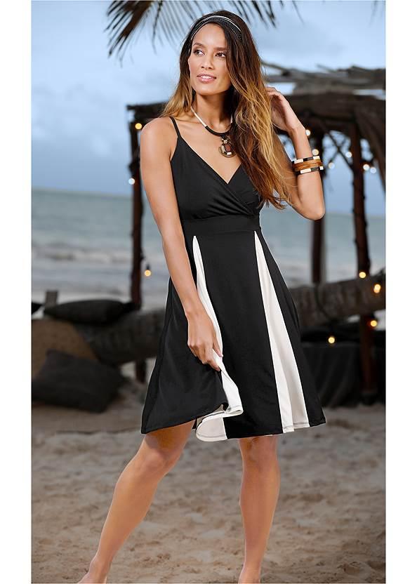 Color Block Dress,High Heel Strappy Sandals