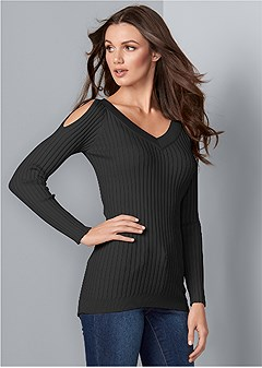 rib cold shoulder sweater