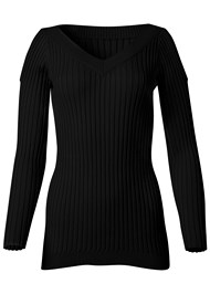 Alternate View Rib Cold Shoulder Sweater