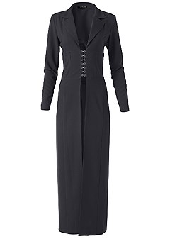 plus size corset detail long jacket