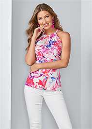 Front View Open Back Print Top