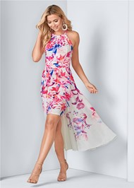 Front View Floral Print Dress