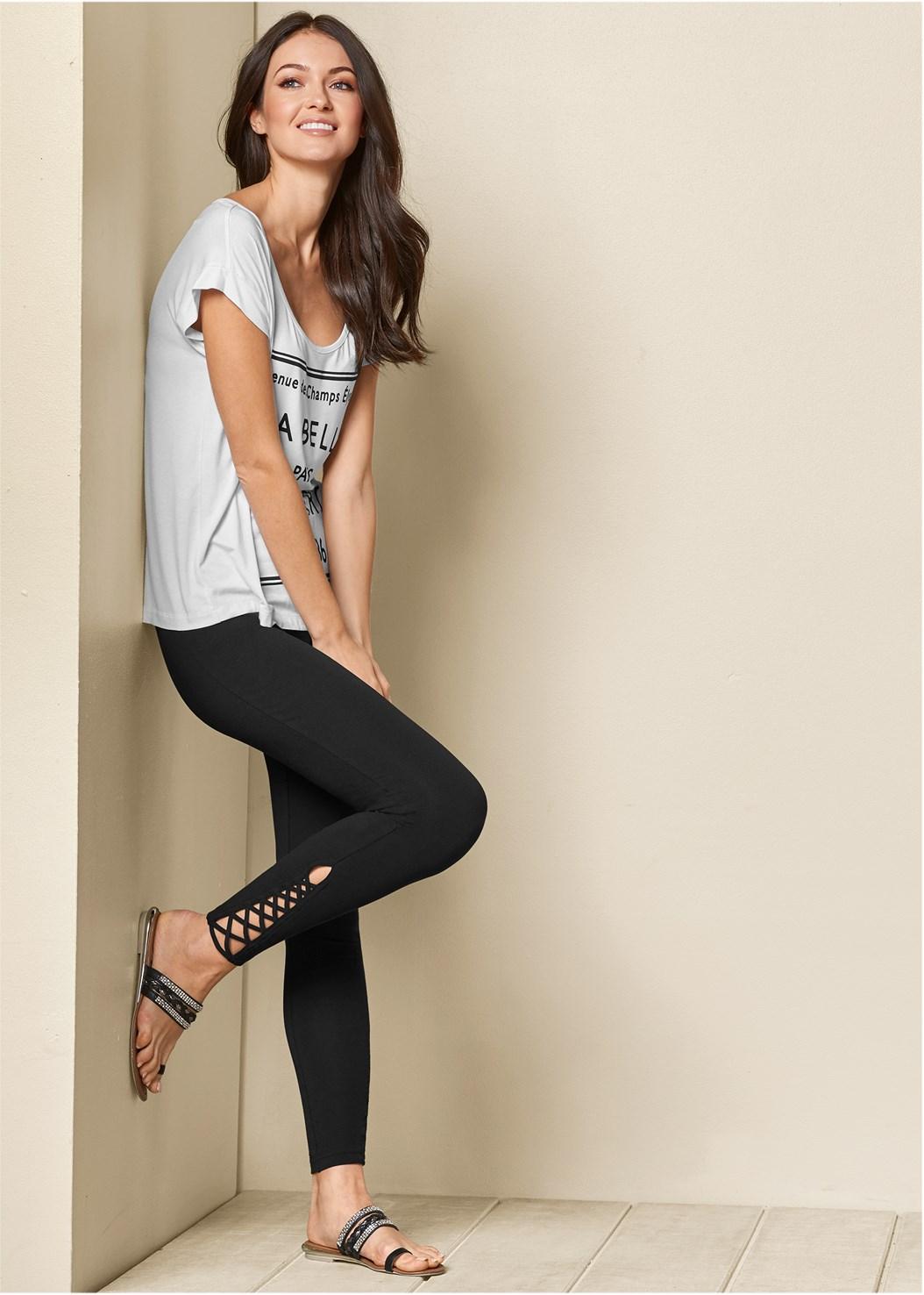 Ankle Detail Leggings,Love Print Top