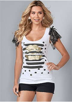 lace sleeve graphic top