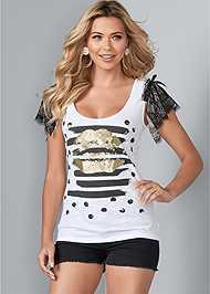 Front View Lace Sleeve Graphic Top