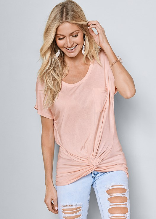 TWISTED KNOT DETAIL TEE,RIPPED JEANS