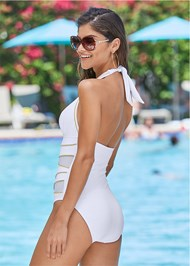 Back View Peek-A-Boo Halter One-Piece