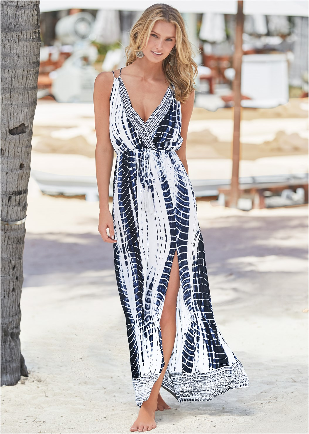 Maxi Cover-Up Dress,Enhancer Push Up Ring Halter Triangle Top ,Scoop Front Classic Bikini Bottom