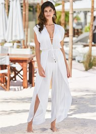 Front View Side Slit Cover-Up Jumpsuit