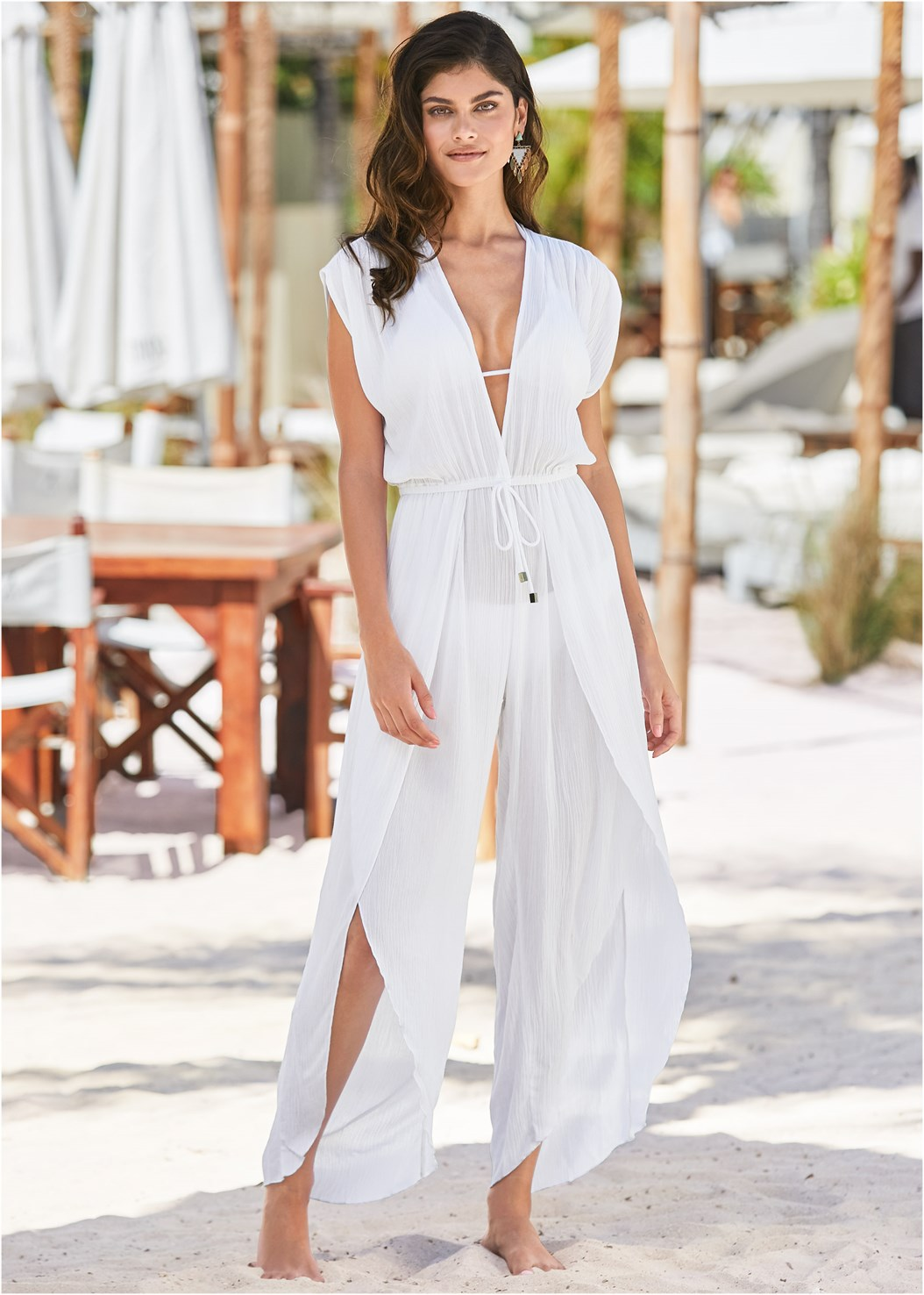 Side Slit Cover-Up Jumpsuit,Triangle String Bikini Top,Scoop Front Classic Bikini Bottom
