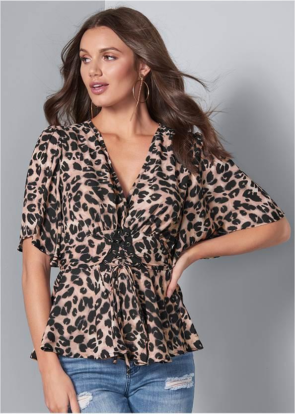Leopard Corset Top,Triangle Hem Jeans