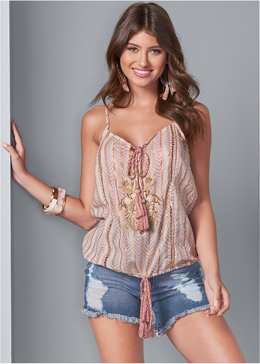 EMBROIDERED TIE FRONT TOP,DISTRESSED JEAN SHORTS,STUDDED FLIP FLOPS,MIXED MEDIA BANGLE SET